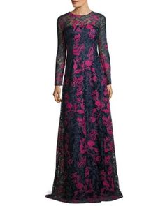 TV7GP David Meister Long-Sleeve Embroidered Floral Lace Gown, Blue/Multicolor