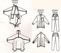 Vogue 1476 Issey Miyake Sewing Pattern Wrap Coat Pants Shirt Miss Size 12 Uncut