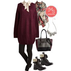 In this outfit: Fireside by Side Sweater in Burgundy, Vanilla Milk Top, Sleeks for Itself Pants, Willamette for the Weekend Scarf, Hit the Town Stunning Necklace, Triple the Charm Bag, Cuff Lovin' Boot #sweater #winter #casual #boots #marsala #outfits #ModCloth #ModStylist
