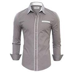 Tom's Ware Herren Hemd einfarbig mit Kontrastdetail an Knopfleiste Manschetten Kragen TWNMS310-1-CMS03-GRAY-US S