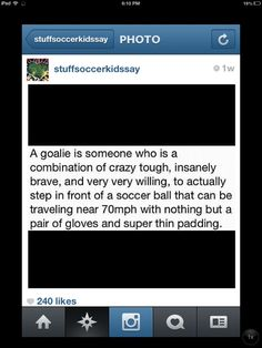 For all the goalies or backup goalies out there!! :) where would we be without you guys?!