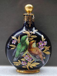 C.1880 Antique Coalport twin sided enamelled birds lidded perfume bottle