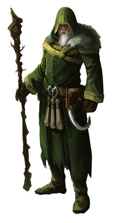 Male druid old scythe staff green nature forest