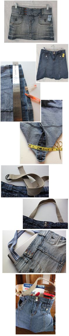 Denim Tote Bag from old jean skirts and canvas belts for the handles.- I TOTALLY MADE THESE IN THE 80s!