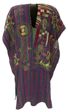 Africa | Robe from the Nupe people of Nigeria | ca. 1850 - 1899 | Cotton; strip woven, embroidered.