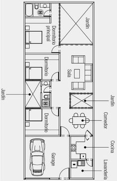 Plantas de casas meio terreno 5x25 planta de casa 5 for Planos de casas 5x25
