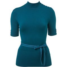 Teal Belted Turtle Neck - Knitwear - Brand New - Wallis found on Polyvore