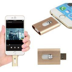 New 32GB Gold USB i-Flash Drive U Disk 8 pin Memory Stick Adapter For iPhone 5S 6S plus iPad #iphonehacks