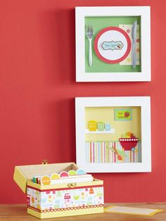 Dress up a purchased recipe box with a strip of cardstock accented with a fun border punch. Layer a strip of patterned paper on top for a pop of more color. For the shadow boxes, accent the background with a piece of patterned paper. Add basic shapes, such as the two circles to form the plate, or get intricate by die-cutting kitchen and food shapes.