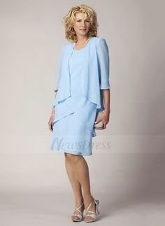 A-Line/Princess Scoop Neck Knee-Length Cascading Ruffles Chiffon Cap Straps Sleeveless Yes 2015 Sky Blue Spring Summer Fall Winter Mother of the Bride Dress