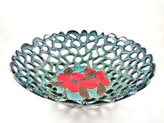 Pottery lace bowl , ceramic lace bowl , teal blue pottery , modern home decor , Modern pottery, anniversary gift - In stock 26 FB A