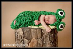 Baby Crochet Frog Cocoon WITHOUT BOW  Photography Prop Halloween Costume - Treasured Little Creations