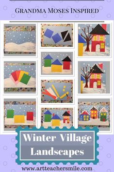 great elementary art lesson on shape and collage- going to use with Kindergarten! Winter Village Elementary Art inspired by Grandma Moses - Art Teacher Smile Kindergarten Art Lessons, Art Lessons Elementary, Winter Art Kindergarten, January Art, December, Grandma Moses, Winter Art Projects, School Art Projects, School