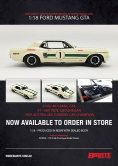 """Ian """"Pete"""" Geoghegan #1 Ford Mustang 1969 Australian Touring Car Championship Winner. This model is sealed resin, it has no opening parts. Comes with certificate of authenticity. Model is due April 2021 Ford Mustang 1969, Authenticity, Certificate, Touring, Resin, Car, Model, Automobile"""