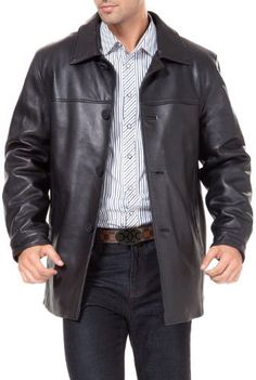 Excelled Mens Big and Tall Four-Button Lambskin Leather Car Coat