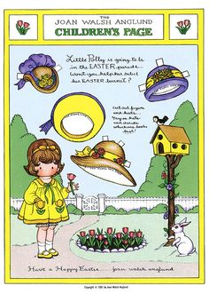 Joan Walsh Anglund easter bonnet paper doll: inkspired musings: Easy Easter pretties and activities Joan Walsh, Illustrations Vintage, Paper Dolls Printable, Free Printable, Easter Activities, Vintage Paper Dolls, Vintage Easter, Paper Toys, Easter Crafts