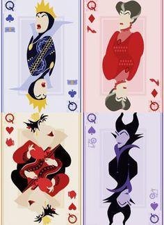 Maleficent, Lady Tremaine, the evil Queen and the Queen of Hearts as Playing Cards Disney Girls, Disney Love, Disney Magic, Disney E Dreamworks, Disney Pixar, Film Disney, Disney Art, Disney Villains, Disney Characters
