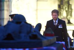 Prince Harry, who served in Afghanistan on two tours of duty, is seen wearing his medals as he pays his respects to the fallen