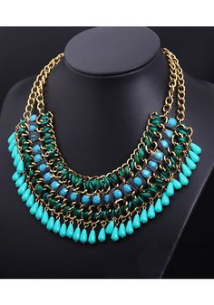 Gold Double Chain Necklace - Green+Blue | Lookbook Store Jewelry