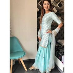 Sky blue sharara-style suit paired with Luminous Gold Juttis Perfect for day weddings! Sharara Designs, Kurti Designs Party Wear, Indian Fashion Dresses, Dress Indian Style, Pakistani Dresses, Party Wear Indian Dresses, Sarara Dress, The Dress, Indian Attire