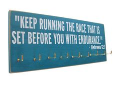 Running Medals display Rack / inspirational bible verse via Etsy