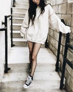 Sneakers women - Converse and fishnet