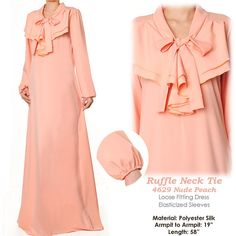 Ruffled Neck Tie Islamic Modest Abaya Long Sleeves by MissMode21, $28.00