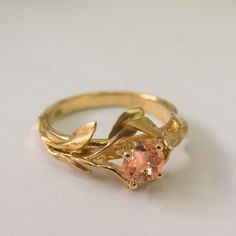Etsy の Leaves Engagement Ring No. 4 14K Gold and by doronmerav