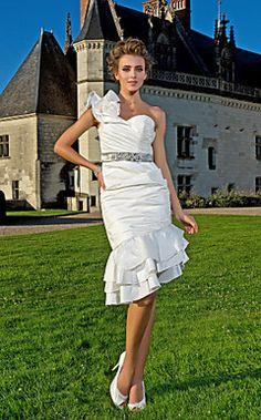 b4170789e24 Sheath  Column One Shoulder Knee-length Asymmetrical Taffeta Wedding Dress  Wedding Dresses 2018