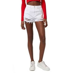 Women's Topshop High Rise Ripped Denim Shorts ($35) ❤ liked on Polyvore featuring shorts, white, ripped jean shorts, cut-off jean shorts, high-waisted jean shorts, distressed high waisted shorts and jean shorts