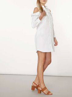 Womens Ruffle Cold Shoulder Dress- Ivory