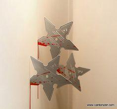 #business #card #ninja #emboss #star #blood