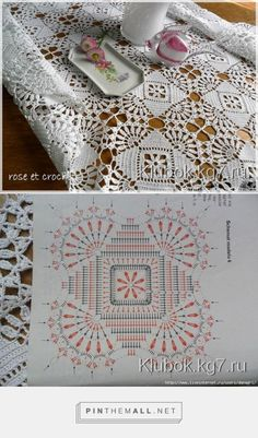 Lovely Lace Tablecloth - size will depend upon the number of motifs joined toget. - Crochet - Lovely Lace Tablecloth – size will depend upon the number of motifs joined together. Crochet Tablecloth Pattern, Crochet Motif Patterns, Crochet Bedspread, Crochet Curtains, Granny Square Crochet Pattern, Crochet Diagram, Crochet Chart, Crochet Squares, Thread Crochet