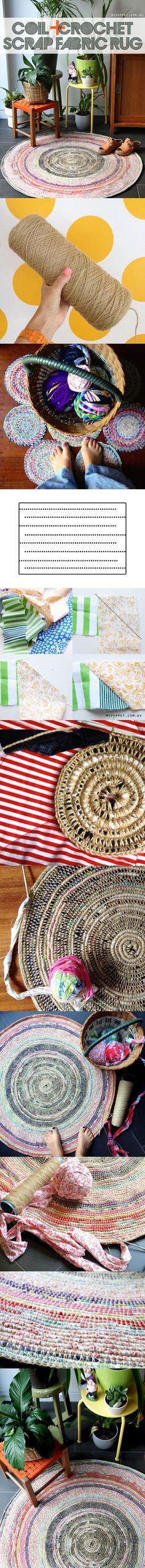 Recicla tus telas viejas: Alfombra de crochet - Vía http://mypoppet.com.au/