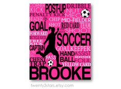 Soccer Typography Art Print Perfect Girl's Room by twenty3stars, $10.00