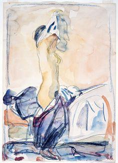 The Model Undressing - Edvard Munch 1920-24Watercolour , fargerstift