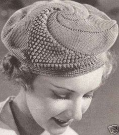 Image detail for -Vintage Popcorn Beret Hat Bag Purse Crochet Pattern Mode Crochet, Crochet Beret, Crochet Cross, Knitted Hats, Crochet Granny, Motif Vintage, Vintage Crochet Patterns, Vintage Knitting, Knitting Patterns