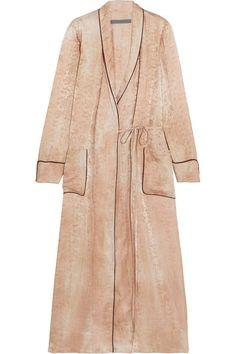 Raquel Allegra - Silk-damask Wrap Dress - Beige - 2