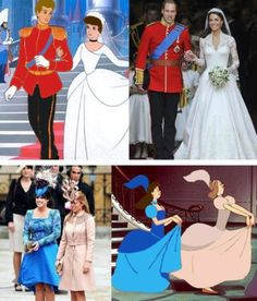 How did we not notice this? Kelly Osborn just pointed this out. Whoever dressed Sarah Ferguson and Prince Andrew's daughters for the royal wedding of their cousin, William to Kate Middleton, was messing with them. The cartoon is Cinderella and the girls are her evil stepsisters.