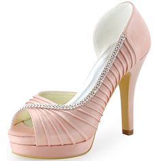 ElegantPark EP11064-IPF Women Peep Toe Platform High Heel D'orsay Pleated Satin Evening Wedding Pumps Pink US 8 *** Visit the image link more details.