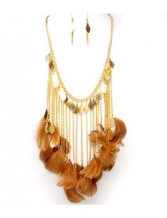FEATHER DROP NECKLACE & EARRING SET - COSTUME JEWELLERY - Fashion Necklace Sets - Necklace Sets - Jewellery