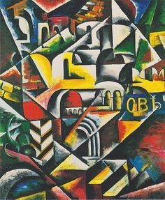 Cubist landscape city by Lyubov Popova ,1914