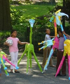 Life size colourful animals of plaster guaze, sticks, found objects etc. Great for playground display - review and see if can seal somehow for longevity