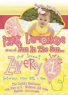 Pink Lemonade Birthday Party Invitation- Digital or Printed