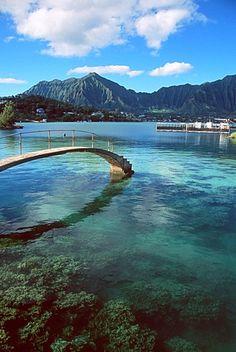 Kaneohe bay and Koolau Mountains, Kaneohe, Oahu, Hawaii, United States of…