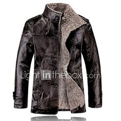 Men's Daily Jackets Winter Leather Jacket,Solid Stand Long Sleeve Regular N/A 2018 - zł124.38