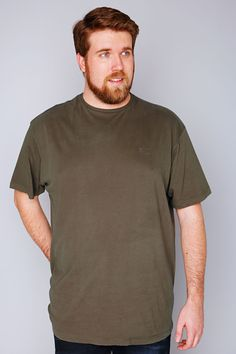 db8307d3bf3f BadRhino Khaki Basic Plain Round Neck T-Shirt - TALL Big And Tall T Shirts