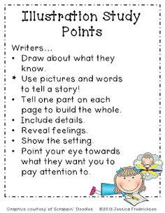 Fun in PreK-1 & Kinder: Illustration Study Points for writer's workshop freebie!