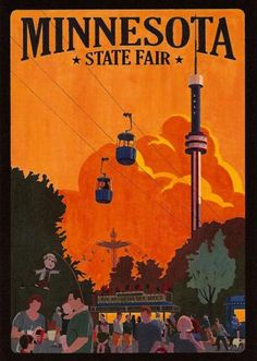 Cool Vintage Travel Prints - Minnesota State Fair-soo much fun! Yummy food and lots to see and do. Minnesota State Fair, Minnesota Home, Feeling Minnesota, Minnesota Funny, Bemidji Minnesota, Stillwater Minnesota, Minnesota Wild, Minneapolis Minnesota, Minnesota Vikings