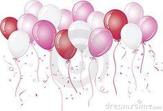 Balões cor-de-rosa que flutuam de encontro ao branco